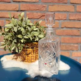 Vintage kristallen handgeslepen karaf met glazen stop; 24 % lead,  'Zawiercie'