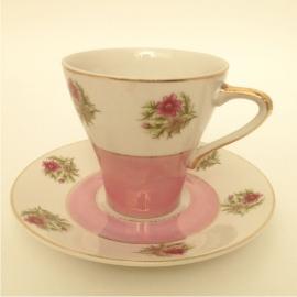 """Vintage kop en schotel 17,""""True"""" roze"""