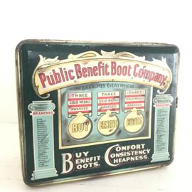 """Vintage blik """"Public Benefit Boot Company"""""""