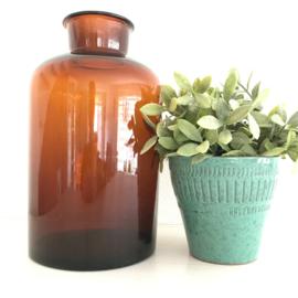 Vintage grote apothekersfles/pot bruin