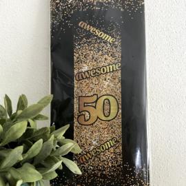 """Banner goud/zwart """"50 """", 160 x 140 cm"""