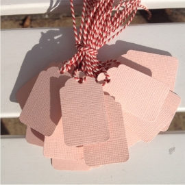 Prijs kaartjes( tags) oud roze M (set van 20 stuks)