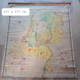 """Vintage  landkaart industrie Nederland, """"W. Bakker en H. Rusch"""""""