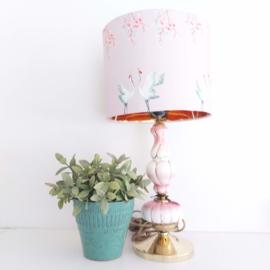 Vintage staande lamp keramiek met hippe lampenkap
