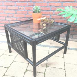 SALE: Vintage salontafel bamboe vierkant met glazen plaat
