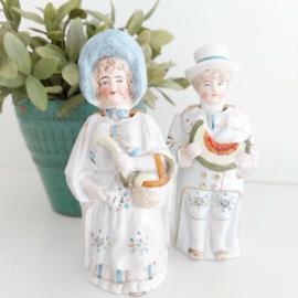 "Vintage(Antiek zelfs) Victoriaanse ""bobbleheads/ nodders""( ja-knikkers) man en vrouw"