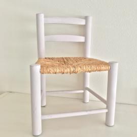 Vintage stoeltje wit met rieten zitting