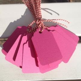 Prijs kaartjes( tags) fel roze L (set van 20 stuks)