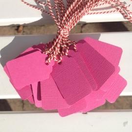 Prijs kaartjes( tags) fel roze M