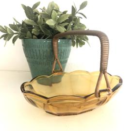 Vintage schaaltje bruin persglas met hengsel, 50'er jaren