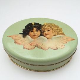 Vintage blikje zachtgroen met engeltjes