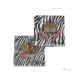 """Servetten """"Pardy""""; zebra print met panter in het midden"""