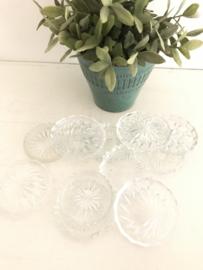 """Huren:  Glazen vintage onderzetters """"kristal"""""""