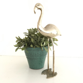 Vintage middelgrote messing/ koperen flamingo (Regency)