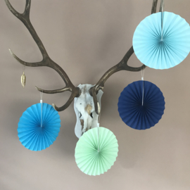Decoratie set(12-delig) blue;  honeycombs, pom poms, slingers en waaiers