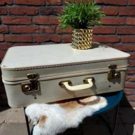 Vintage  witte koffer XL van geperst karton, Jaren '50