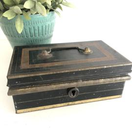 Vintage metalen geldkistje incl. inzetbakje met klepdeksels