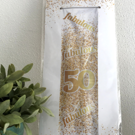 """Banner goud/wit """"50 """", 160 x 140 cm"""