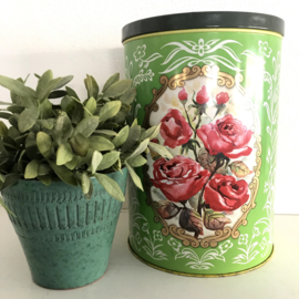 Vintage groot blik groen met rozen en gouden accenten