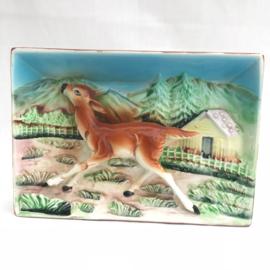 """Decoratief vintage wandschilderijtje """"hert"""" in decor"""
