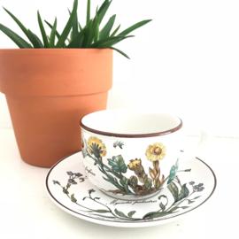 """Vintage kop en schotel 63, Villeroy en Boch, Botanica, """"Tussilago farfara"""""""