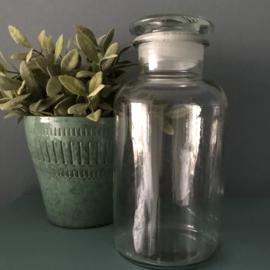 Vintage apothekers stopfles/pot glas, 21,5 cm