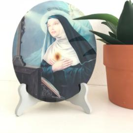 Vintage glazen voorstelling Maria met houdertje