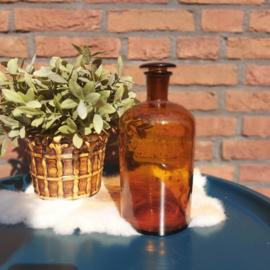 Vintage apothekers stopfles bruin glas, 24 cm.