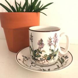 "Vintage kop en schotel 61, Villeroy en Boch, Botanica, ""Myosotis palustris"""