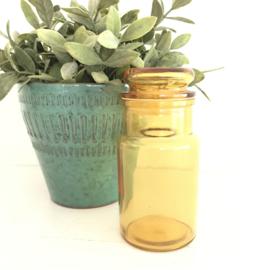 Vintage stopfles/pot geel glas uit de 70's, 13,5 cm