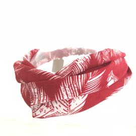 Haarband met elastiek voor kids steenrood met verenprint