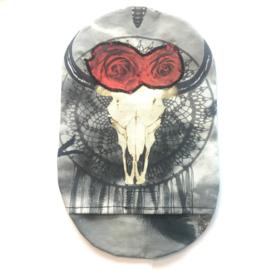 """Stoma cover/ hoesje """"skull rozen"""" mét steentjes"""