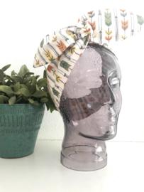 """Haarband met ijzerdraad """"uit eigen atelier"""", print pijlen"""