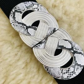 SALE: Riem elastisch zwart met zilveren cirkel/slangenprint sluiting