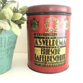 """Vintage beschuit-blik rood """"beschuit fabriek  firma Veldema"""""""