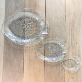 """Vintage schalen set glas """"Vis"""", geperst glas uit jaren '50"""