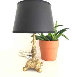 Vintage koperen lampenvoet met PU lederen kap, zwart