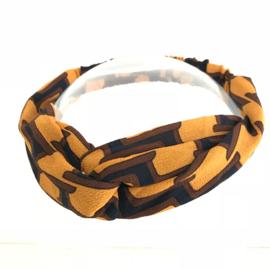 Haarband met elastiek voor kids retroprint okergeel