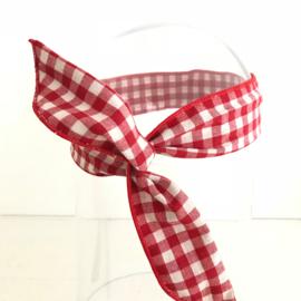 Haarband met ijzerdraad rood/witte ruit