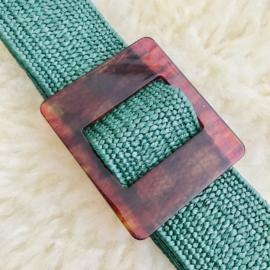 SALE: Riem elastisch groen met kunststof gesp vierkant