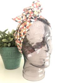 """Haarband met ijzerdraad """"uit eigen atelier"""", grafische print 1"""