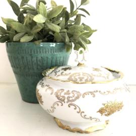 """Vintage potje met goud decor """"Royal R""""fine china, Germany"""