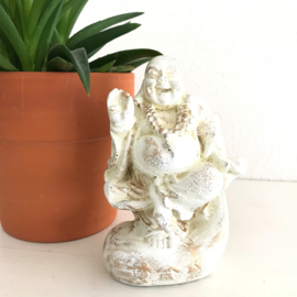 SALE: Happy Boeddha met zak,  creme/goud