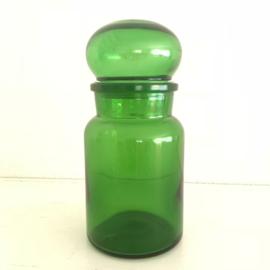 Vintage stopfles/pot groen glas uit de 70's, 17,5 cm