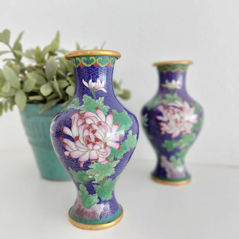 Vintage vazen set cloisonné in cobalt met floral design