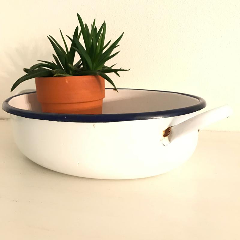 Vintage emaille pan/(oven)schaal wit/blauw