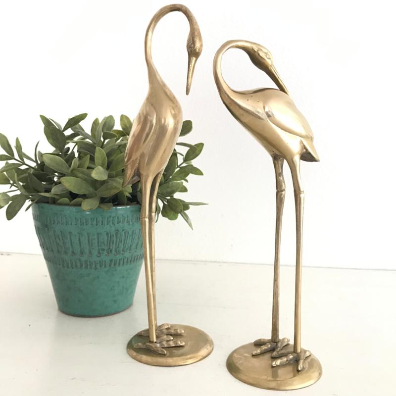Vintage set van 2 middelgrote messing/ koperen Ibissen/vogels (Regency)