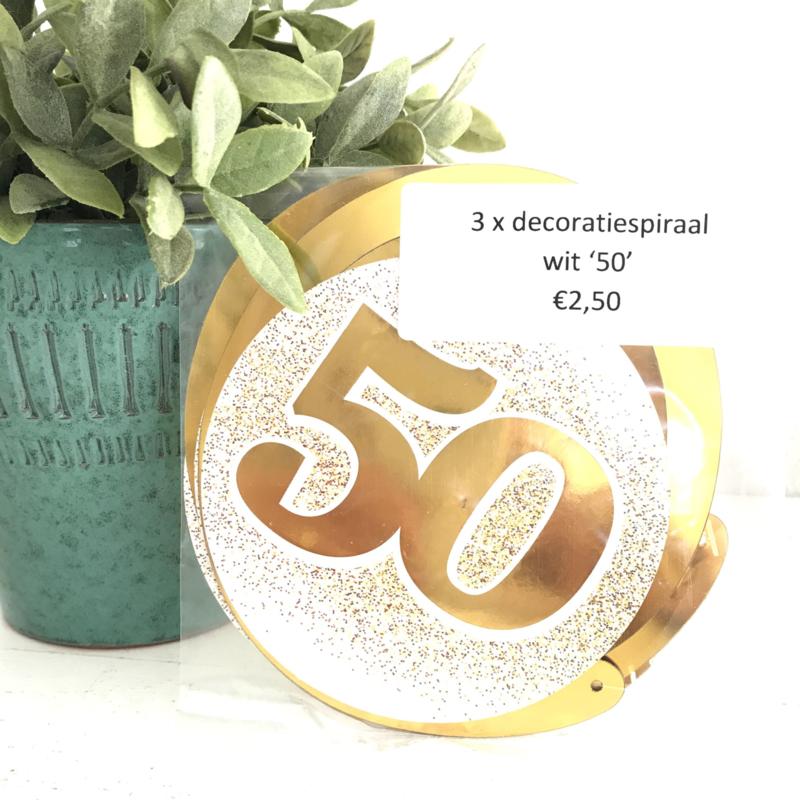 """3 decoratiespiralen goud/wit """"50 """""""