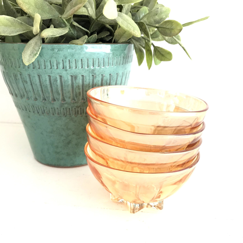 Vintage persglas schaaltjes(4 x) met parelmoerglans, jaren '50