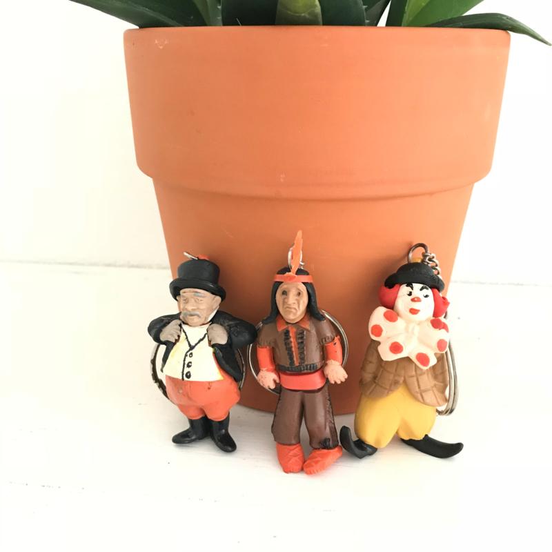 "Vintage sleutelhangers ""Pipo de Clown, Klukkluk en Dikke Deur"", 60/70'er jaren"